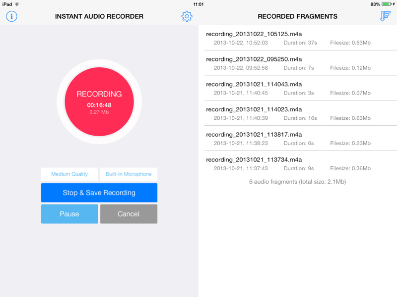 Record Audio Easily With Instant Audio Recorder for iOS Image